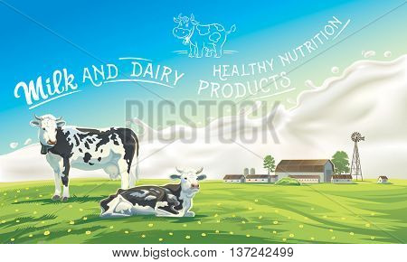 Two cows in the background of the summer landscape and splash from the milk, as well as graphic elements.