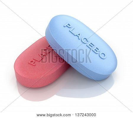 Red and blue pill placebo. 3D illustration