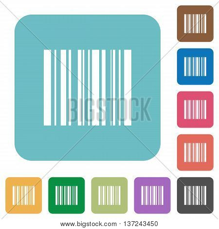 Flat barcode icon set on round color background.