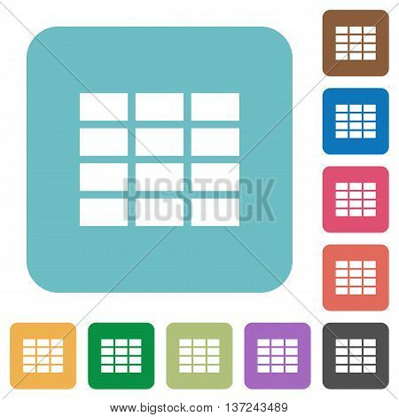 Flat spreadsheet icon set on round color background.