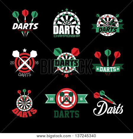 Darts Labels and Icons Set. Vector Illustration. Darts sports emblems and symbols with crossed darts, target for sporting design.