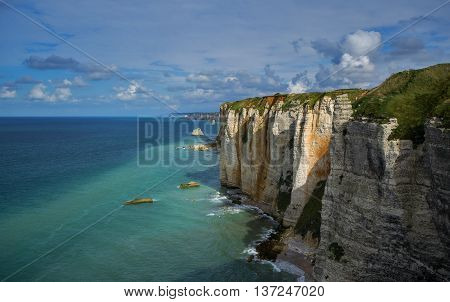 Alabaster cliffs of Normandy coast near city Etretat