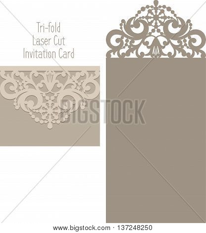 Laser Cut Envelope Template For Invitation Wedding Card.eps