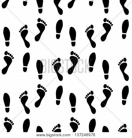 Black and white human feet prints seamless pattern, background