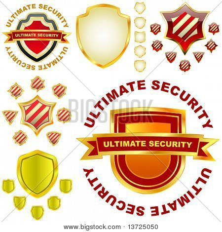 Ultimate secutity. Vector shield collection for design