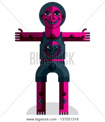 Graphic vector illustration anthropomorphic character isolated on white decorative modern avatar made in cubism style.