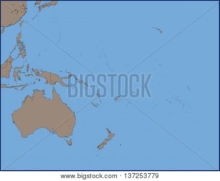 Illustration of a Empty Political Map of Oceania