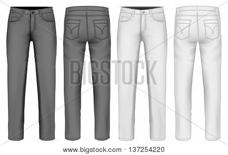 Men's  jeans (front, back views). Fully editable handmade mesh. Vector illustration.