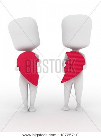 3D Illustration of a Man and Woman Holding Pieces of a Broken Heart