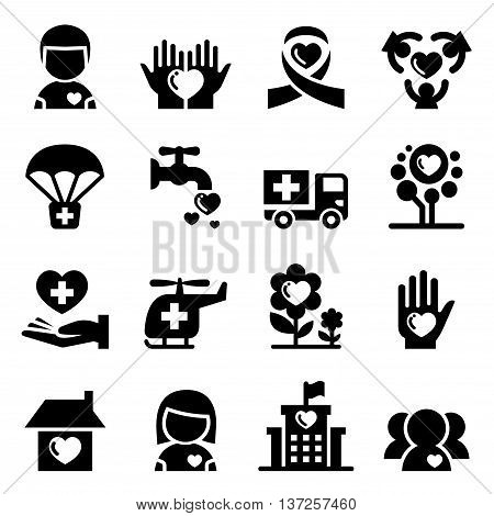 Charity icon set Vector illustration graphic design
