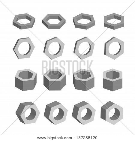 Hexagon Monochrome set of geometric prism shapes, platonic solids, vector illustration