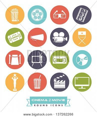 Cinema and movie related vector icons in circles. Collection of 16 round colored symbols.