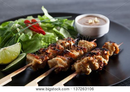 chicken satay popular asian dish, close view