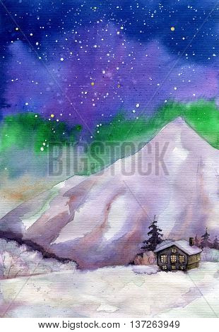 Old Wooden Cabin In The Mountains Under Northern Lights Watercolor