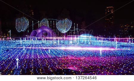 TOKYO JAPAN - NOVEMBER 27 2015: Illuminations light up at at Roppongi Hills. The illuminations' prepared for the celebration of the forth coming Christmas Eve