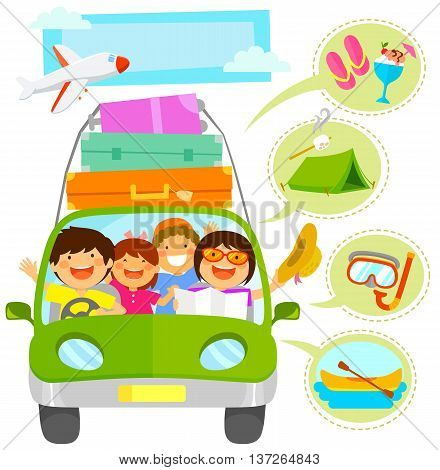 family traveling in a car plus icons related to vacation