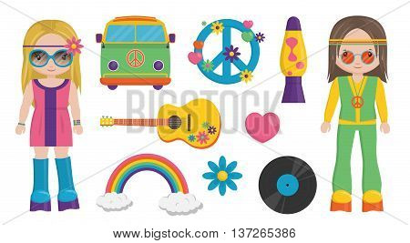 vintage retro set of 1960 hippie style boy and girl characters and items that symbolize 60s decade fashion style leisure items and innovations.
