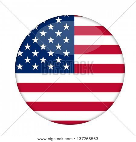 American Stars and Stripes badge isolated on a white background.