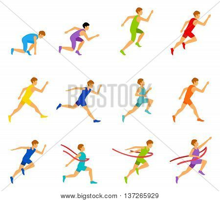 Athletic attractive run man people jogging in summer sport shorts enjoying runner exercising their healthy lifestyle. Multiethnic run man. Young couple group running marathon run man sprinting vector.