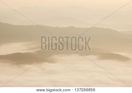 Beautiful Morning With Fog Between Hills At Doi Samer Dao In Si Nan National Park , High Mountain In