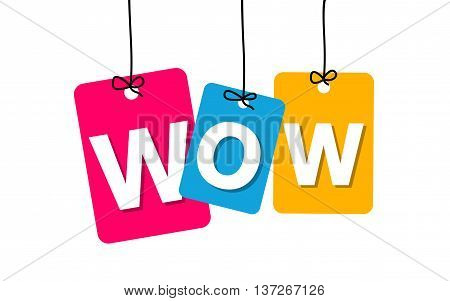 Vector colorful hanging cardboard. Tags - wow on white background