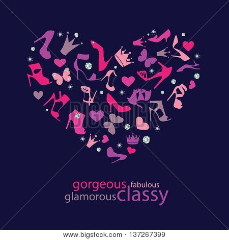 Heart made of high-heeled shoes, crowns, butterflies, diamonds. With text. Isolated on violet background. Vector illustration.