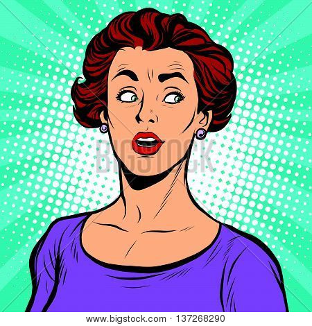 Surprised woman looking sideways pop art retro vector realistic hand drawing illustration. White lady, Caucasian, brunette.