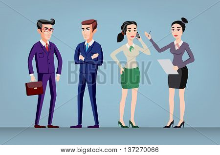Vector Men And Women In Office Wear Full Length, Isolated. Group Of Office Workers Standing. Global