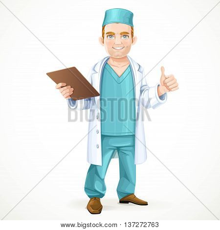 Cute doctor in surgical suit and white lab coat holding a medical history and showing gesture that everything will be okay isolated on white background
