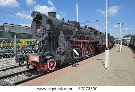MOSCOW, RUSSIA - JUNE 23, 2016: Museum of Railway Transport of the Moscow railway locomotive TE Series (Trophy equivalent series E) TE-5415 was developed in Germany during World War II built in 1943 in USSR entered as a trophy