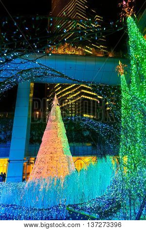TOKYO JAPAN - NOVEMBER 27 2015: Illuminations light up at at Caretta shopping mall in Shiodome district Odaiba area. The illuminations' prepared for the forth coming Christmas Eve