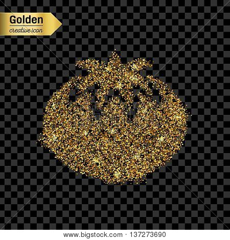 Gold glitter vector icon of tomato isolated on background. Art creative concept illustration for web, glow light confetti, bright sequins, sparkle tinsel, abstract bling, shimmer dust, foil.