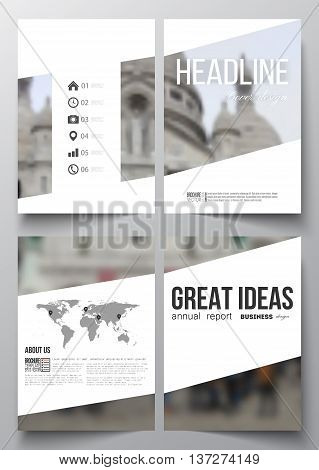 Set of business templates for brochure, magazine, flyer, booklet or annual report. Blurred image, view of cathedral Sakre-Ker, Paris cityscape, modern vector texture