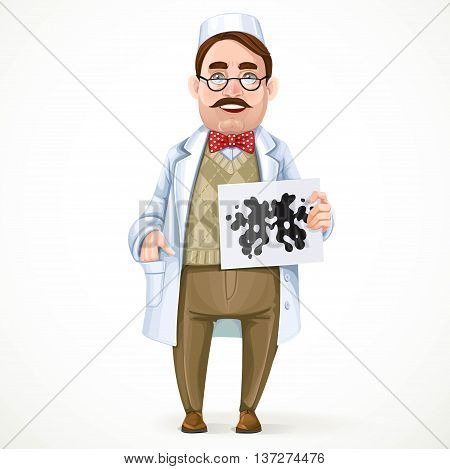 Psychiatrist doctor in a white coat and a Rorschach test in hand isolated on white background
