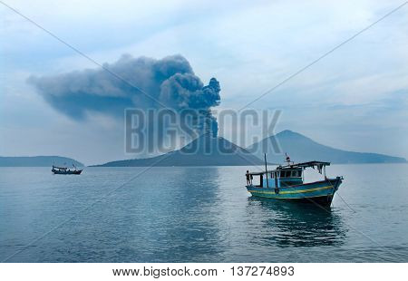 Boat Near Anak Krakatau. Volcano Eruption. Indonesia