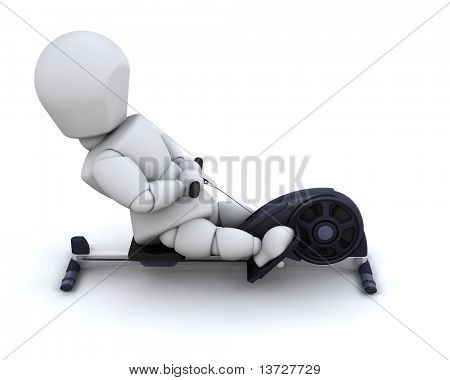 3D render of a man on a rowing machine