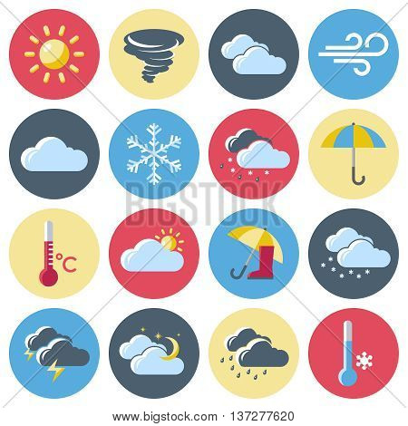 Round isolated colored weather forecast icon set with signs denoting weather conditions vector illustration