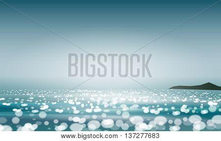 Summer seascape blur bokeh landscape background. Realistic vector illustration for web or application