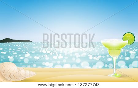 Summer seascape blur bokeh with margaritas and a sea shell. Paradise island. Realistic vector illustration for web or application