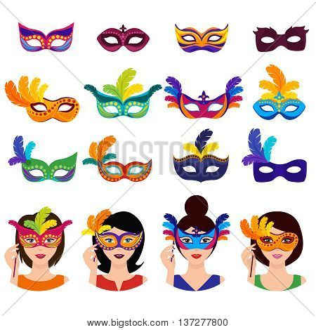 Ball carnival icons set with women in colorful decorated masks of different style isolated vector illustration