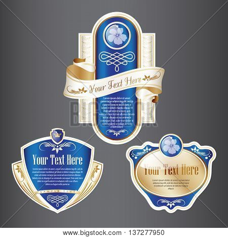 Set of Blue and Gold ornate label. Grouped for easy editing. Perfect for labels or stickers for wine, beer, champagne, cognac, cologne and etc.