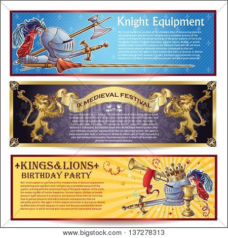 Knight horizontal banners set with military equipment medieval festival thematic birthday party isolated vector illustration