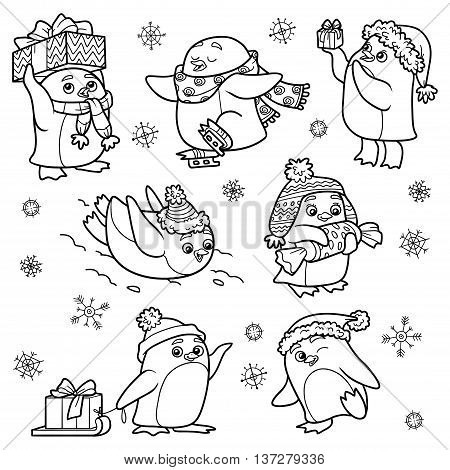 Set Of Animals, Vector Family Of Penguins