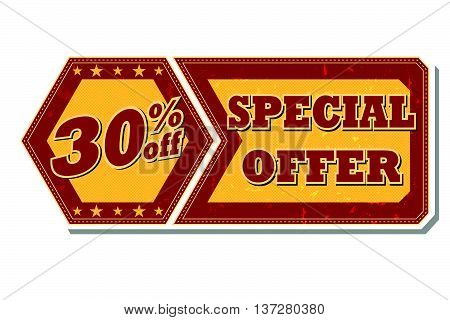 30 percentages off discount special offer - retro style red ocher hexagon and flyer label with text and stars, business concept, vector