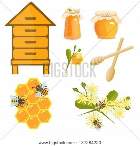 Icons apiaries and bee vector linden blossom. Bee flying in beehive jar honey and honeycomb beekeeper apiary. Apiary set art. Apiary set honey beekeeping beeswax apiary bee honey jar little bee.