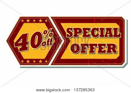 40 percentages off discount special offer - retro style red ocher hexagon and flyer label with text and stars, business concept, vector