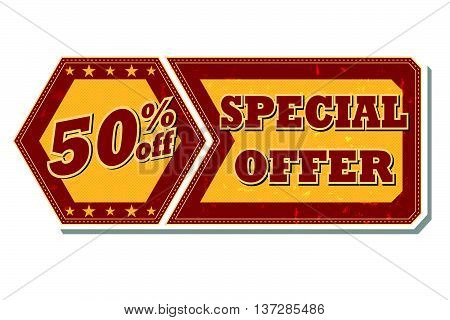 50 percentages off discount special offer - retro style red ocher hexagon and flyer label with text and stars, business concept, vector
