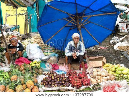 Local Women Sell Local Vegetable At The Market , Indonesia