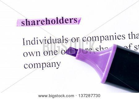 Shareholders Word Highlighted