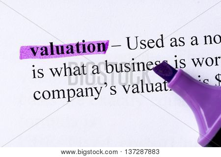 Valuation Word Highlighted